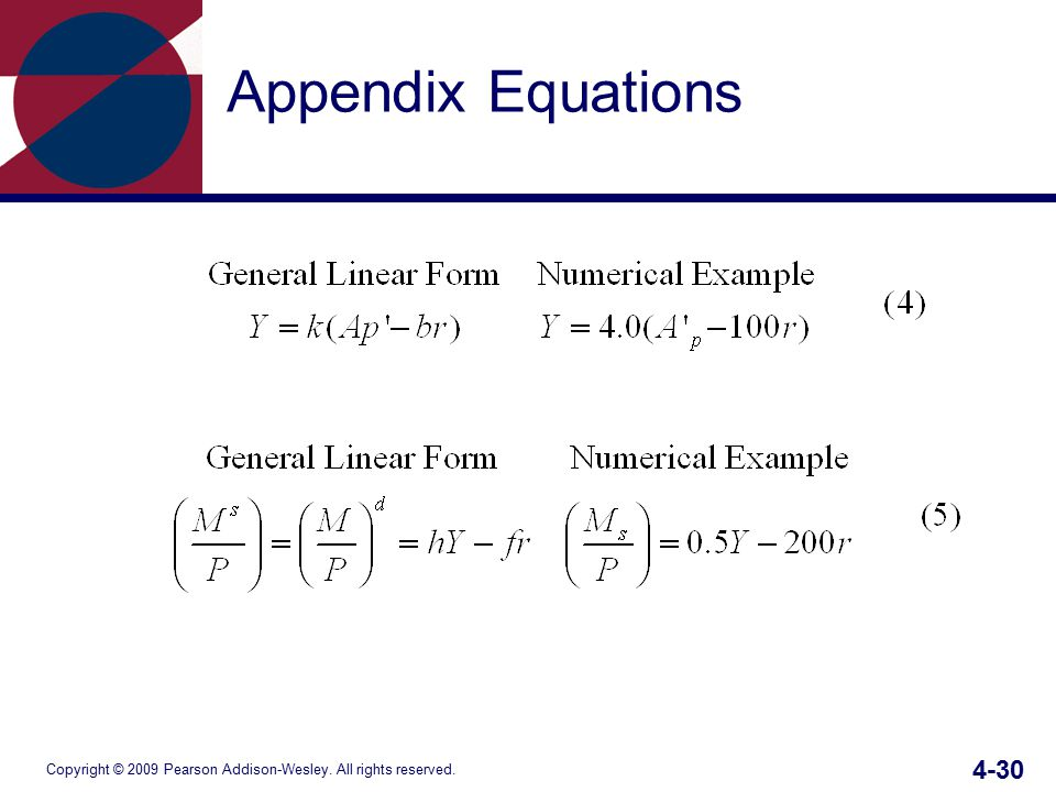 Copyright © 2009 Pearson Addison-Wesley. All rights reserved. 4-30 Appendix Equations