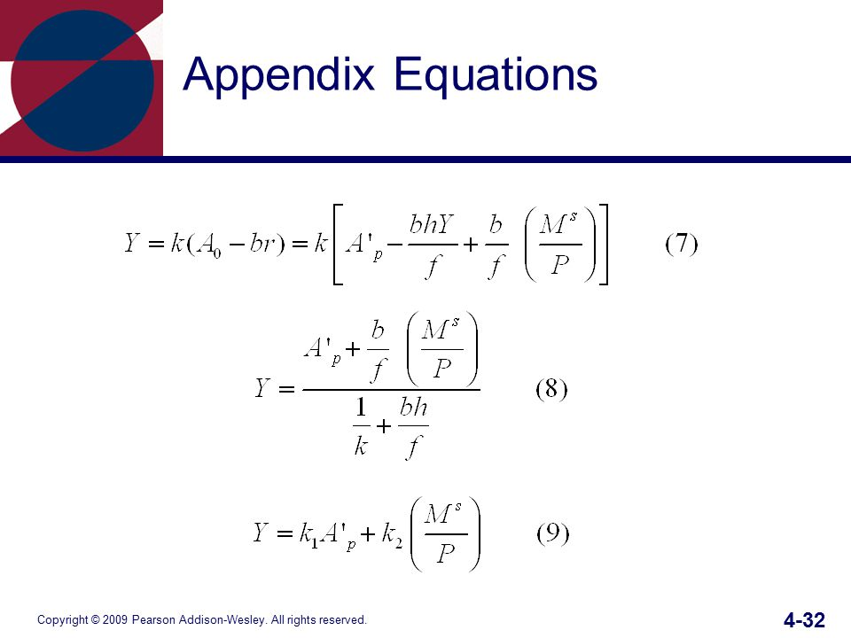 Copyright © 2009 Pearson Addison-Wesley. All rights reserved. 4-32 Appendix Equations