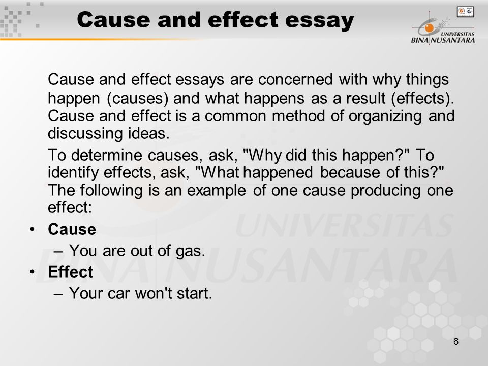 introduction to cause and effect essay Cause and effect topics when selecting your topic for this essay, you should find an event, trend, or phenomenon that has a fairly obvious cause and effect.