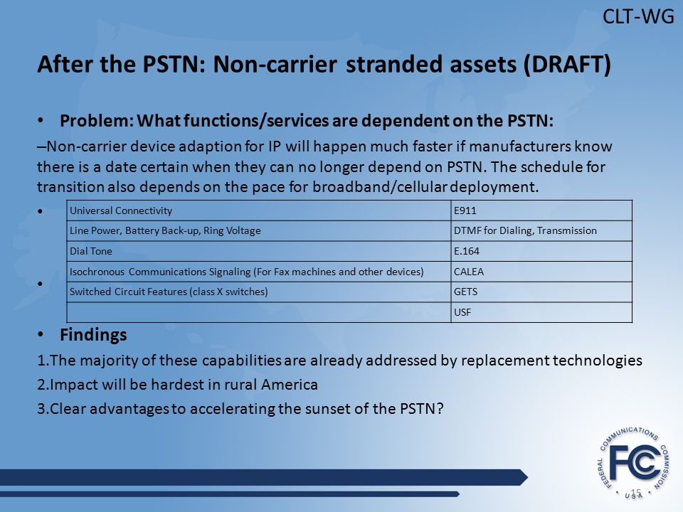 15 CLT-WG After the PSTN: Non-carrier stranded assets (DRAFT) Problem: What functions/services are dependent on the PSTN: – Non-carrier device adaption for IP will happen much faster if manufacturers know there is a date certain when they can no longer depend on PSTN.