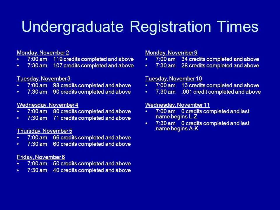Undergraduate Registration Times Monday, November 2 7:00 am 119 credits completed and above 7:30 am 107 credits completed and above Tuesday, November 3 7:00 am 98 credits completed and above 7:30 am 90 credits completed and above Wednesday, November 4 7:00 am 80 credits completed and above 7:30 am 71 credits completed and above Thursday, November 5 7:00 am 66 credits completed and above 7:30 am 60 credits completed and above Friday, November 6 7:00 am 50 credits completed and above 7:30 am 40 credits completed and above Monday, November 9 7:00 am 34 credits completed and above 7:30 am 28 credits completed and above Tuesday, November 10 7:00 am 13 credits completed and above 7:30 am.001 credit completed and above Wednesday, November 11 7:00 am 0 credits completed and last name begins L-Z 7:30 am 0 credits completed and last name begins A-K