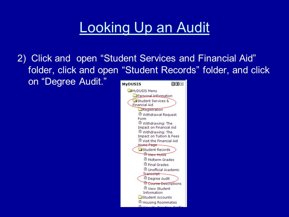Looking Up an Audit 2) Click and open Student Services and Financial Aid folder, click and open Student Records folder, and click on Degree Audit.