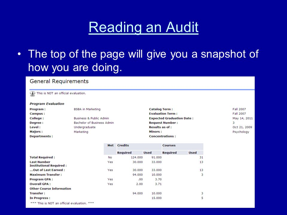 Reading an Audit The top of the page will give you a snapshot of how you are doing.