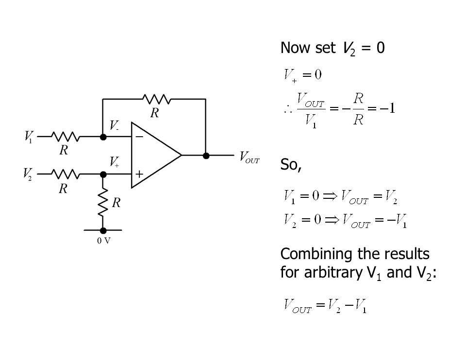 Now set V 2 = 0 Combining the results for arbitrary V 1 and V 2 : So,