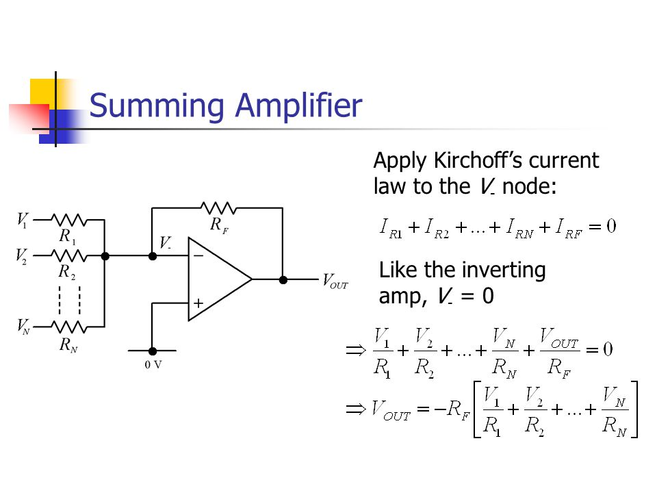 Summing Amplifier Apply Kirchoff's current law to the V - node: Like the inverting amp, V - = 0