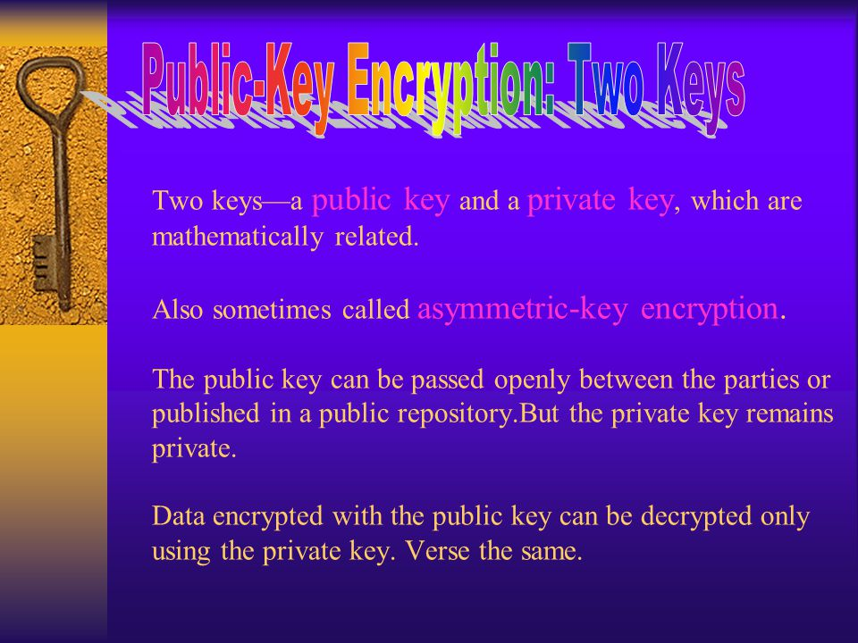 Two keys—a public key and a private key, which are mathematically related.