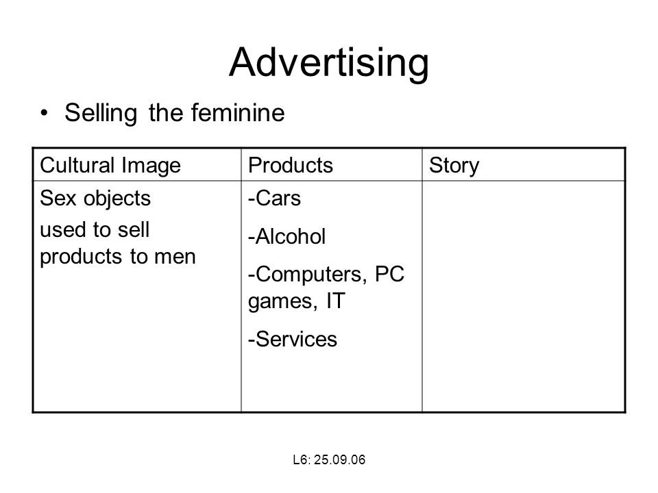 L6: Advertising Selling the feminine Cultural ImageProductsStory Sex objects used to sell products to men -Cars -Alcohol -Computers, PC games, IT -Services