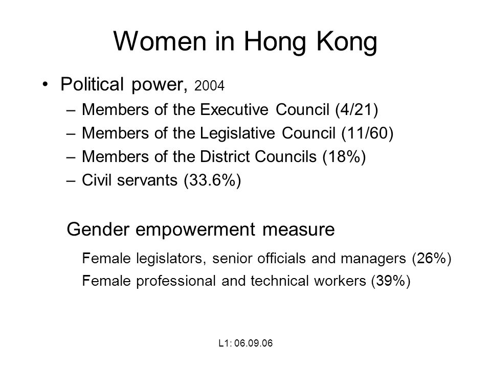 L1: Women in Hong Kong Political power, 2004 –Members of the Executive Council (4/21) –Members of the Legislative Council (11/60) –Members of the District Councils (18%) –Civil servants (33.6%) Gender empowerment measure Female legislators, senior officials and managers (26%) Female professional and technical workers (39%)