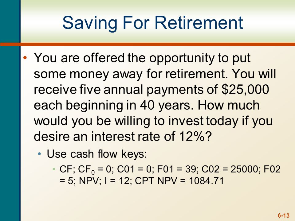 6-13 Saving For Retirement You are offered the opportunity to put some money away for retirement.