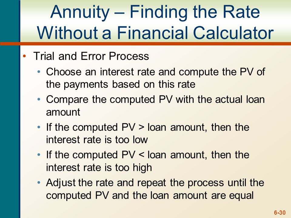 6-30 Annuity – Finding the Rate Without a Financial Calculator Trial and Error Process Choose an interest rate and compute the PV of the payments based on this rate Compare the computed PV with the actual loan amount If the computed PV > loan amount, then the interest rate is too low If the computed PV < loan amount, then the interest rate is too high Adjust the rate and repeat the process until the computed PV and the loan amount are equal