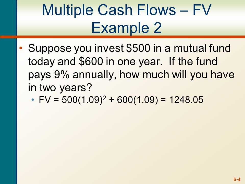 6-4 Multiple Cash Flows – FV Example 2 Suppose you invest $500 in a mutual fund today and $600 in one year.