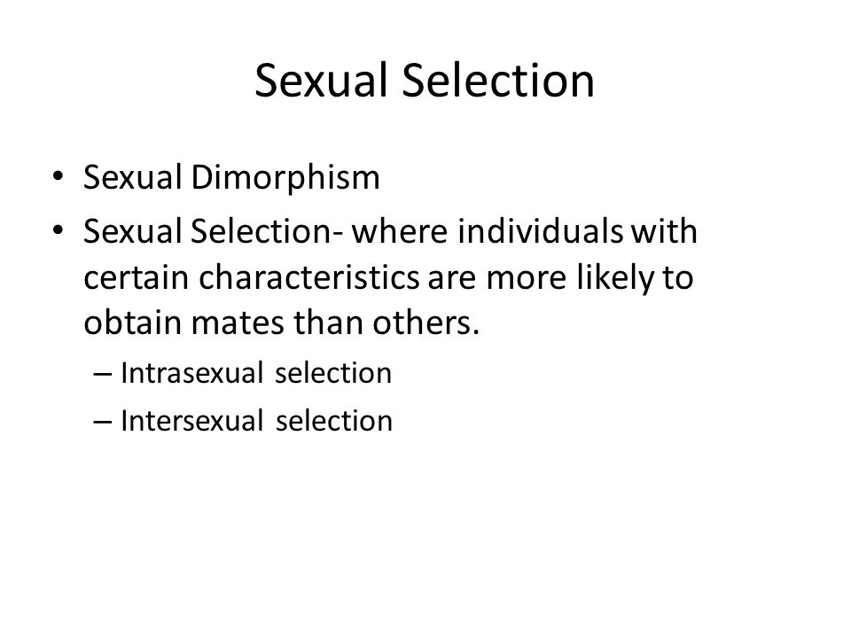 Sexual Selection Sexual Dimorphism Sexual Selection- where individuals with certain characteristics are more likely to obtain mates than others.