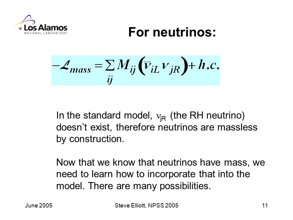 June 2005Steve Elliott, NPSS For neutrinos: In the standard model, jR (the RH neutrino) doesn't exist, therefore neutrinos are massless by construction.