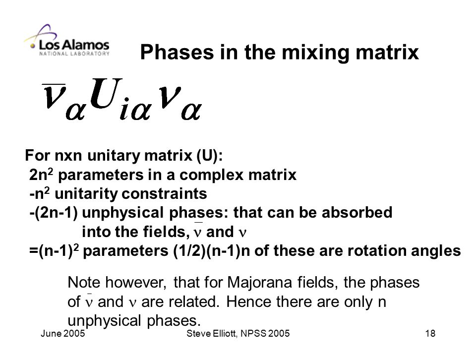 June 2005Steve Elliott, NPSS Phases in the mixing matrix For nxn unitary matrix (U): 2n 2 parameters in a complex matrix -n 2 unitarity constraints -(2n-1) unphysical phases: that can be absorbed into the fields, and =(n-1) 2 parameters (1/2)(n-1)n of these are rotation angles Note however, that for Majorana fields, the phases of and are related.