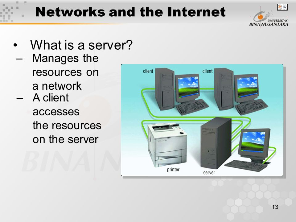 13 Networks and the Internet What is a server.