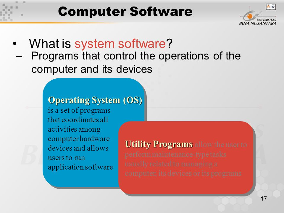 17 Computer Software What is system software.