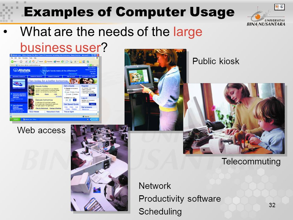 32 Examples of Computer Usage What are the needs of the large business user.