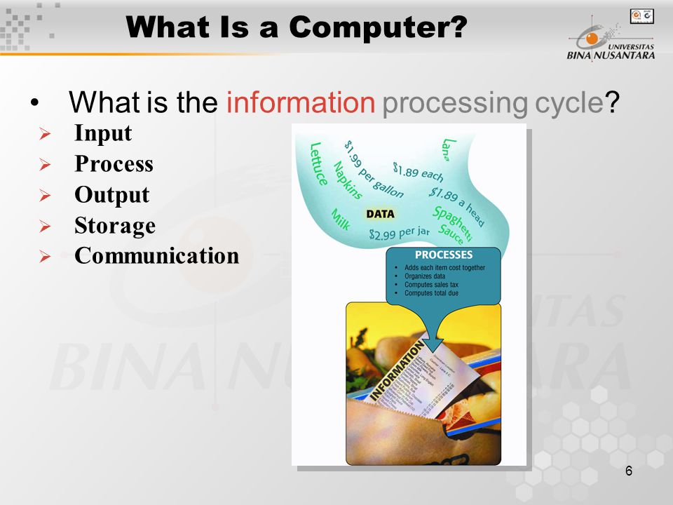 6 What Is a Computer. What is the information processing cycle.