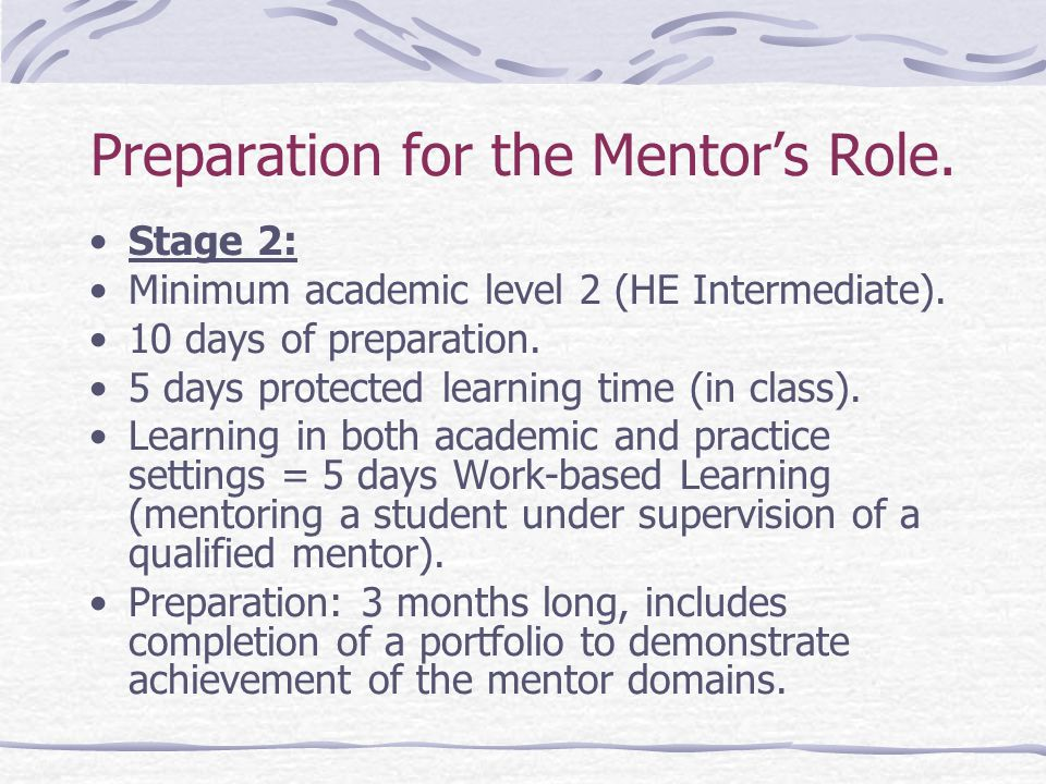 Preparation for the Mentor's Role. Stage 2: Minimum academic level 2 (HE Intermediate).