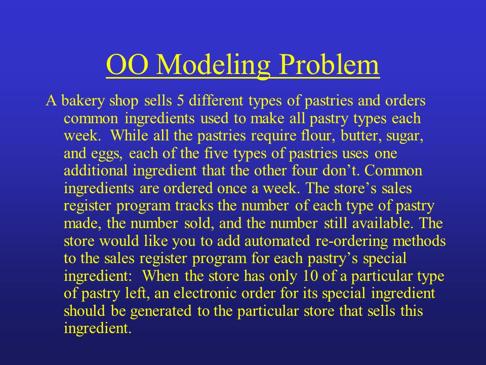 OO Modeling Problem A bakery shop sells 5 different types of pastries and orders common ingredients used to make all pastry types each week.
