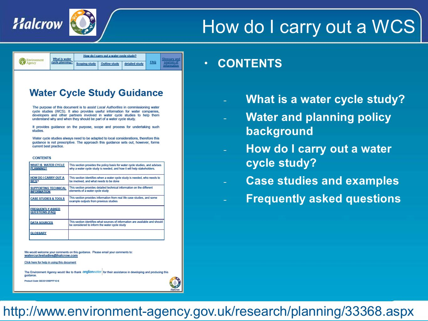 How do I carry out a WCS  CONTENTS - What is a water cycle study.