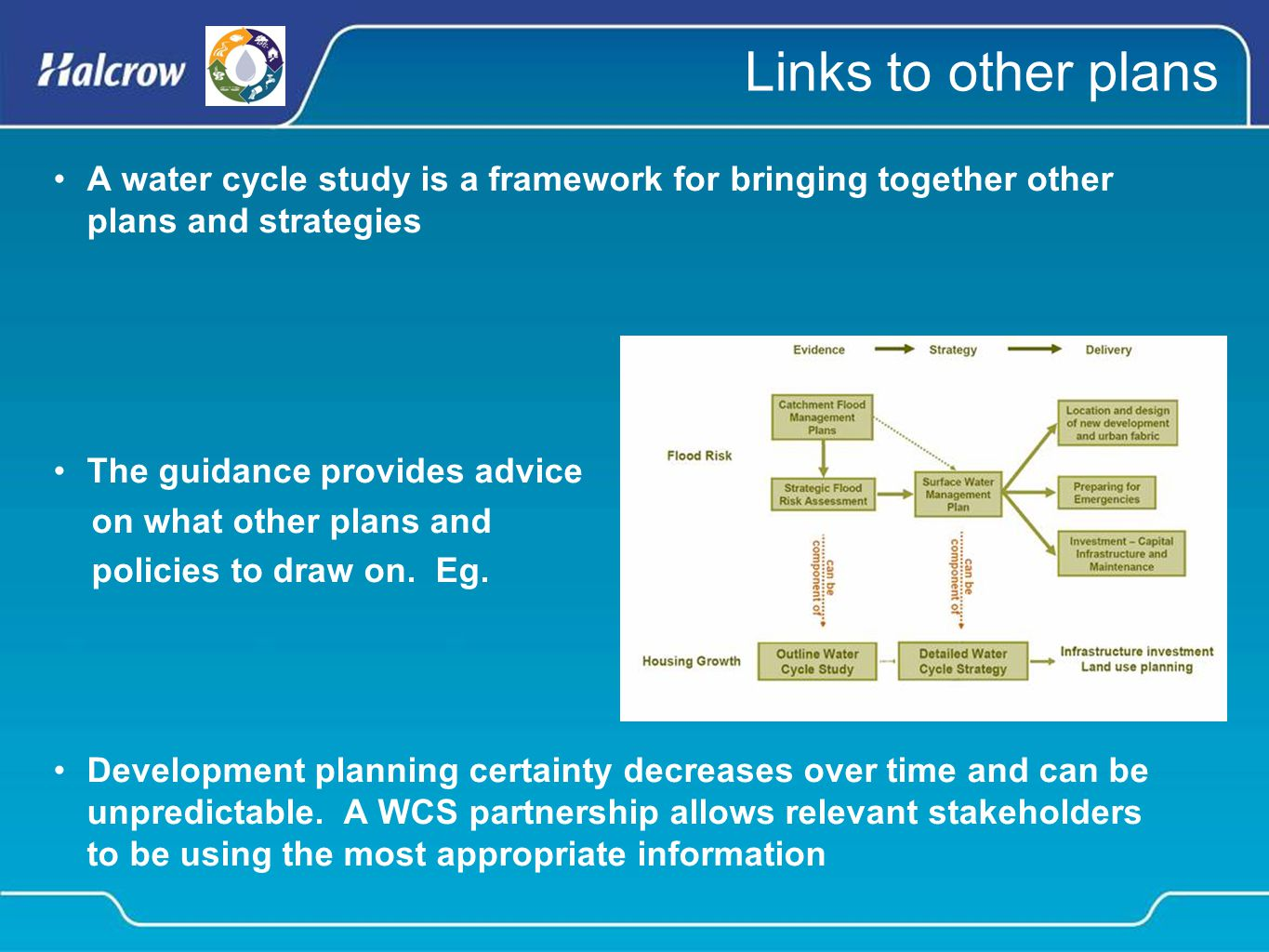 Links to other plans A water cycle study is a framework for bringing together other plans and strategies The guidance provides advice on what other plans and policies to draw on.