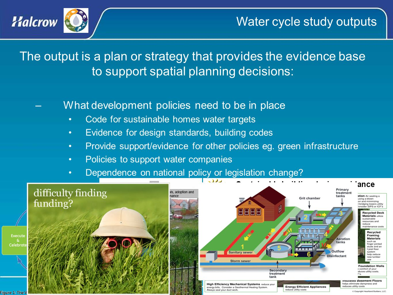 The output is a plan or strategy that provides the evidence base to support spatial planning decisions: –What development policies need to be in place Code for sustainable homes water targets Evidence for design standards, building codes Provide support/evidence for other policies eg.