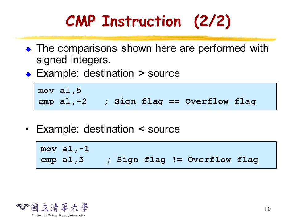 10 CMP Instruction (2/2)  The comparisons shown here are performed with signed integers.