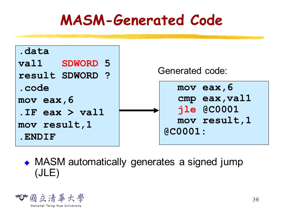 36 MASM-Generated Code  MASM automatically generates a signed jump (JLE) mov eax,6 cmp eax,val1 mov val1 SDWORD 5 result SDWORD .code mov eax,6.IF eax > val1 mov result,1.ENDIF Generated code: