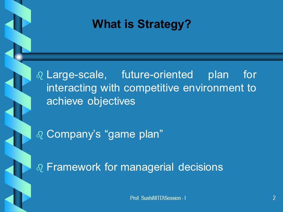 Prof. Sushil\IITD\Session - I2 What is Strategy.