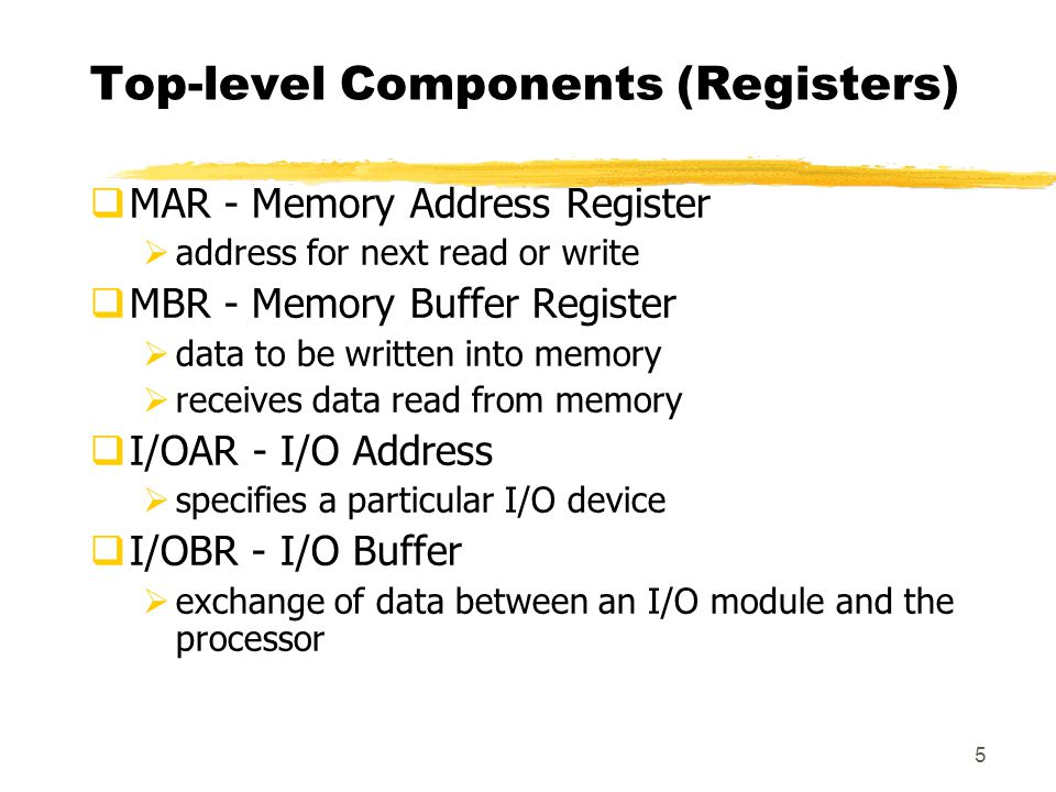 5 Top-level Components (Registers)  MAR - Memory Address Register  address for next read or write  MBR - Memory Buffer Register  data to be written into memory  receives data read from memory  I/OAR - I/O Address  specifies a particular I/O device  I/OBR - I/O Buffer  exchange of data between an I/O module and the processor