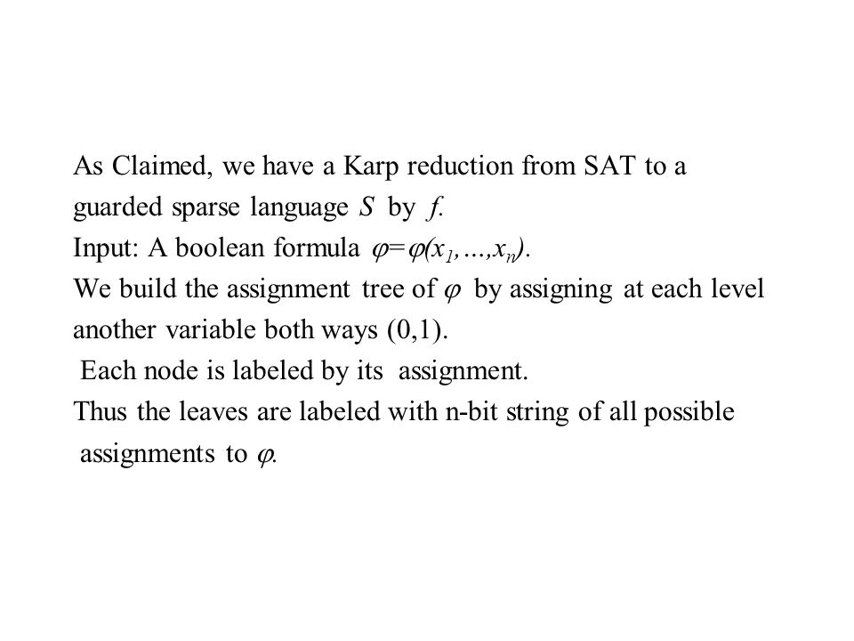 As Claimed, we have a Karp reduction from SAT to a guarded sparse language S by f.