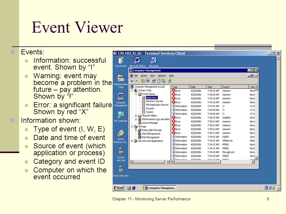 Chapter 11 - Monitoring Server Performance9 Event Viewer Events: Information: successful event.