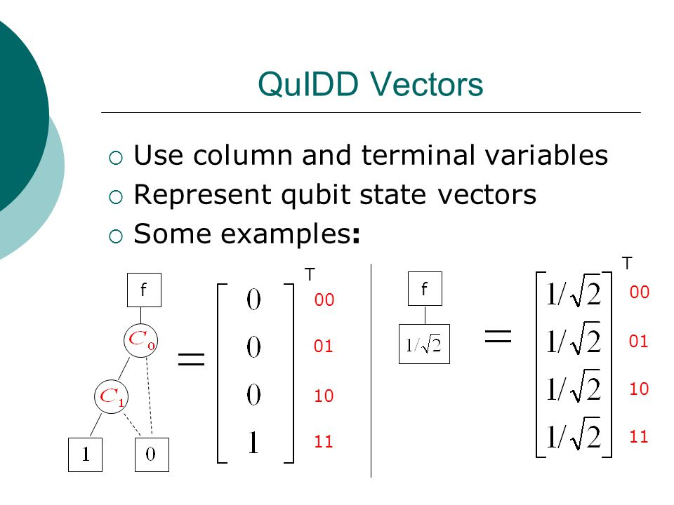 QuIDD Vectors  Use column and terminal variables  Represent qubit state vectors  Some examples: f f T T