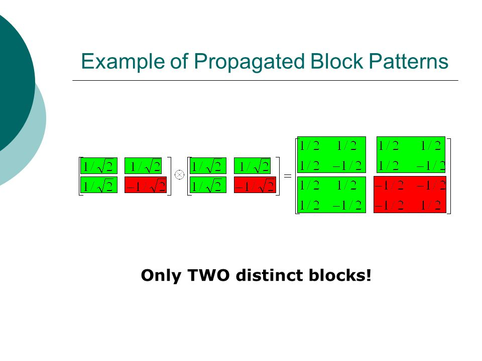 Example of Propagated Block Patterns Only TWO distinct blocks!