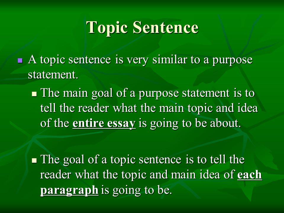 How do you write a topic sentence ..?