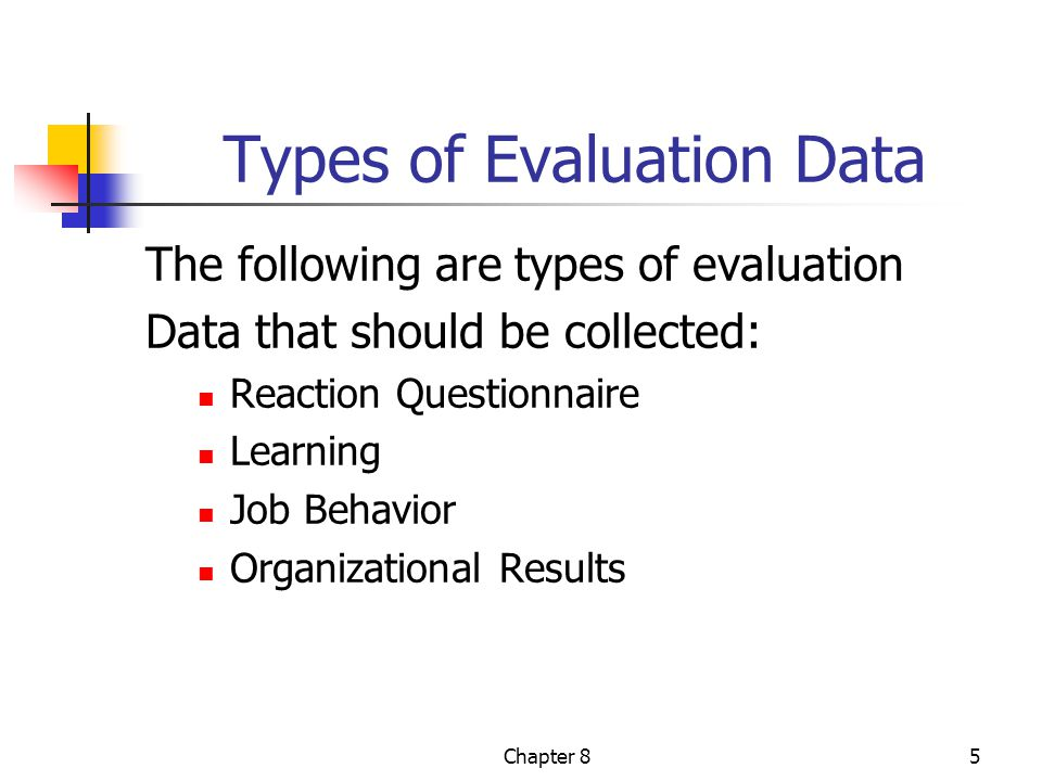 Chapter 85 Types of Evaluation Data The following are types of evaluation Data that should be collected: Reaction Questionnaire Learning Job Behavior Organizational Results