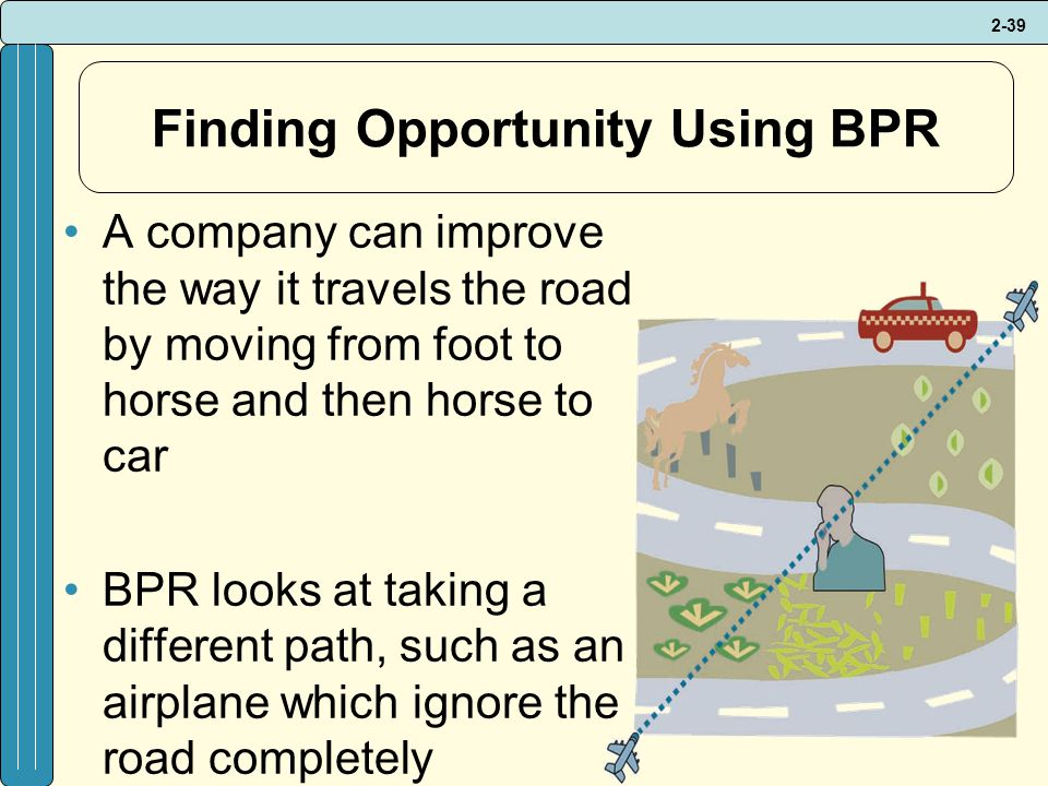 2-39 Finding Opportunity Using BPR A company can improve the way it travels the road by moving from foot to horse and then horse to car BPR looks at taking a different path, such as an airplane which ignore the road completely