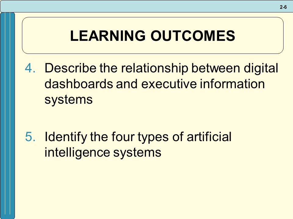 2-6 LEARNING OUTCOMES 4.Describe the relationship between digital dashboards and executive information systems 5.Identify the four types of artificial intelligence systems