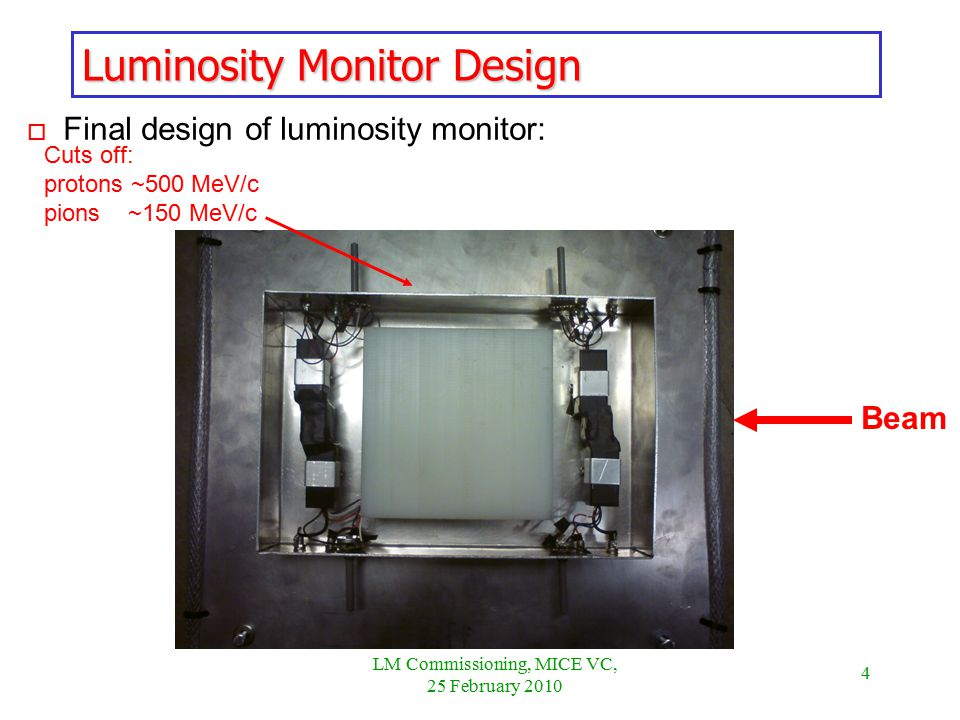 4 LM Commissioning, MICE VC, 25 February 2010 o Final design of luminosity monitor: Luminosity Monitor Design Beam Cuts off: protons ~500 MeV/c pions ~150 MeV/c