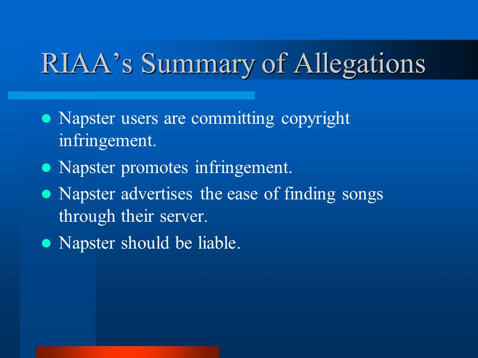 an analysis of the napster software An analysis of the theory of contributory infringement mp3 files 26 the free software provided by napster 'musicshare' enabled the users to (1.