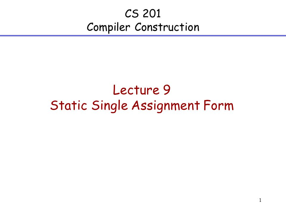 Static single assignment
