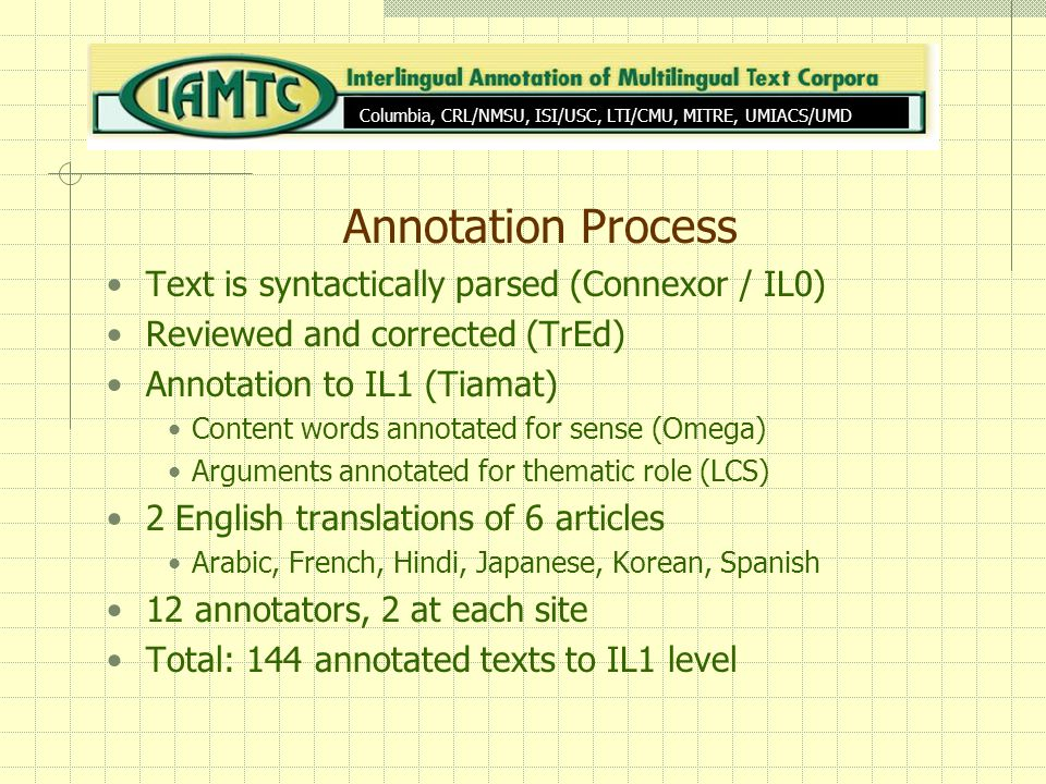 Annotation Process Text is syntactically parsed (Connexor / IL0) Reviewed and corrected (TrEd) Annotation to IL1 (Tiamat) Content words annotated for sense (Omega) Arguments annotated for thematic role (LCS) 2 English translations of 6 articles Arabic, French, Hindi, Japanese, Korean, Spanish 12 annotators, 2 at each site Total: 144 annotated texts to IL1 level Columbia, CRL/NMSU, ISI/USC, LTI/CMU, MITRE, UMIACS/UMD