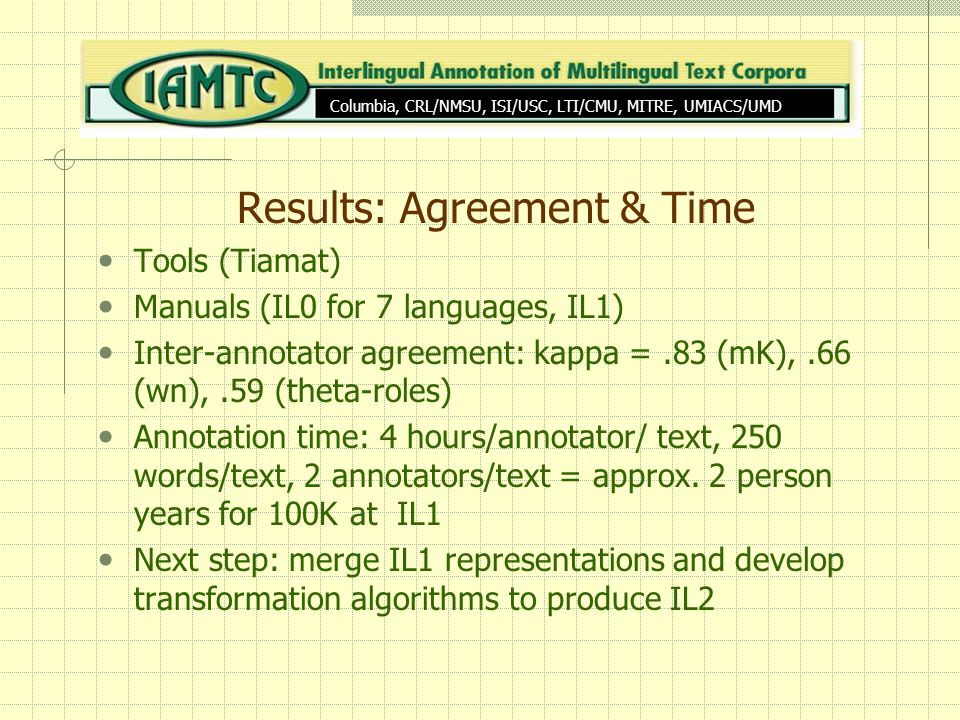 Results: Agreement & Time Tools (Tiamat) Manuals (IL0 for 7 languages, IL1) Inter-annotator agreement: kappa =.83 (mK),.66 (wn),.59 (theta-roles) Annotation time: 4 hours/annotator/ text, 250 words/text, 2 annotators/text = approx.
