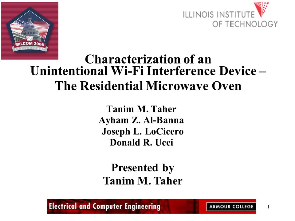 1 Characterization of an Unintentional Wi-Fi Interference Device – The Residential Microwave Oven Tanim M.