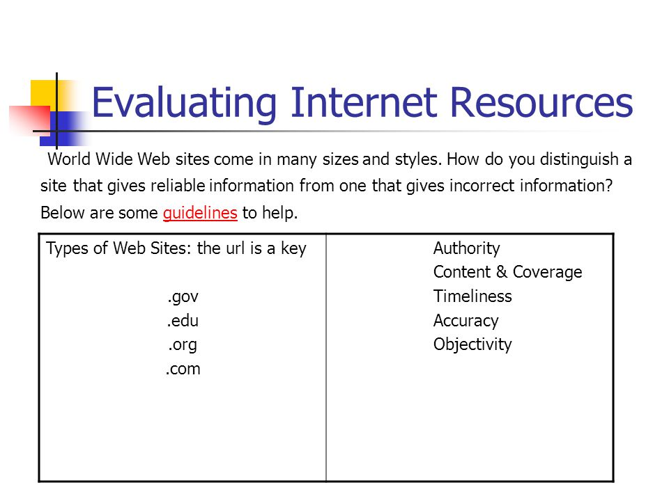Internet Resources vs.