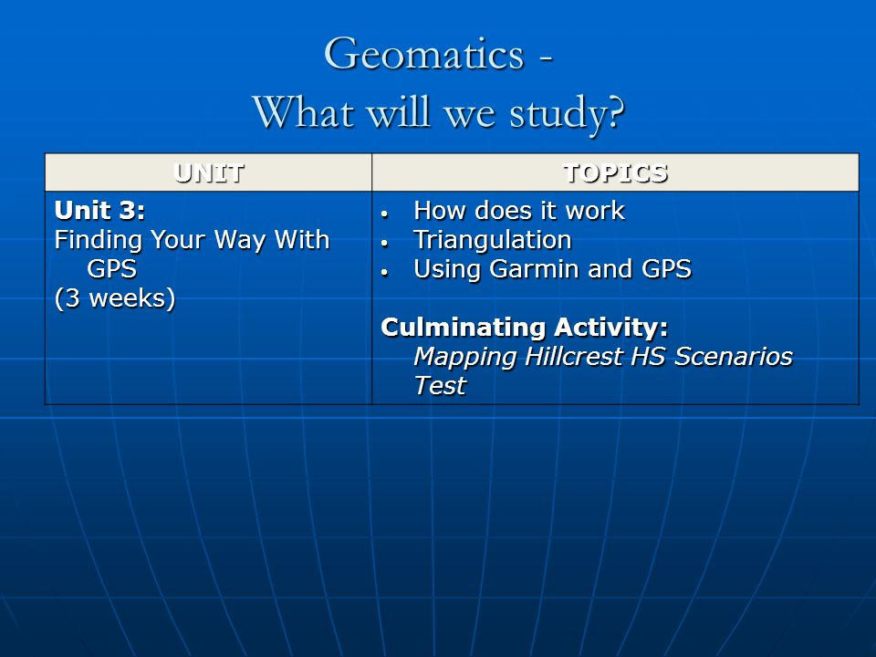 Geomatics - What will we study.