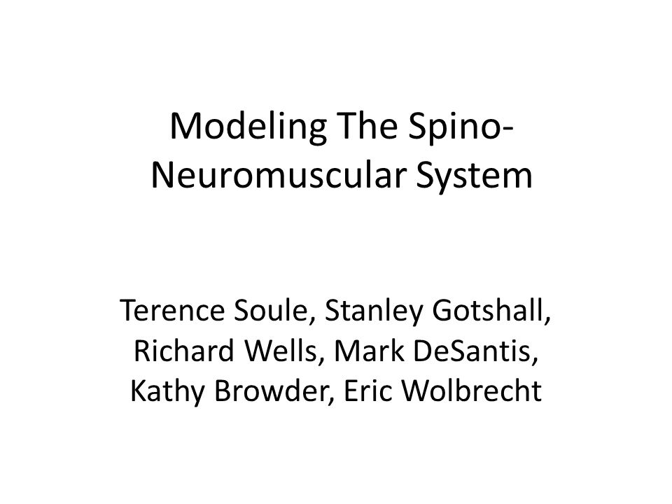 Modeling The Spino- Neuromuscular System Terence Soule, Stanley Gotshall, Richard Wells, Mark DeSantis, Kathy Browder, Eric Wolbrecht