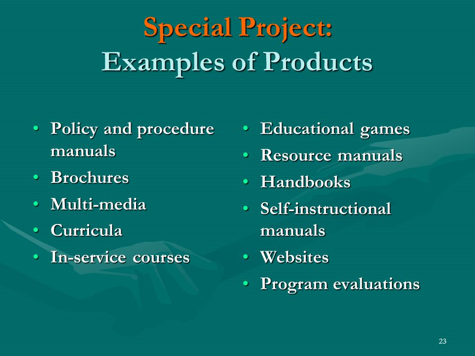 23 Special Project: Examples of Products Policy and procedure manualsPolicy and procedure manuals BrochuresBrochures Multi-mediaMulti-media CurriculaCurricula In-service coursesIn-service courses Educational games Resource manuals Handbooks Self-instructional manuals Websites Program evaluations