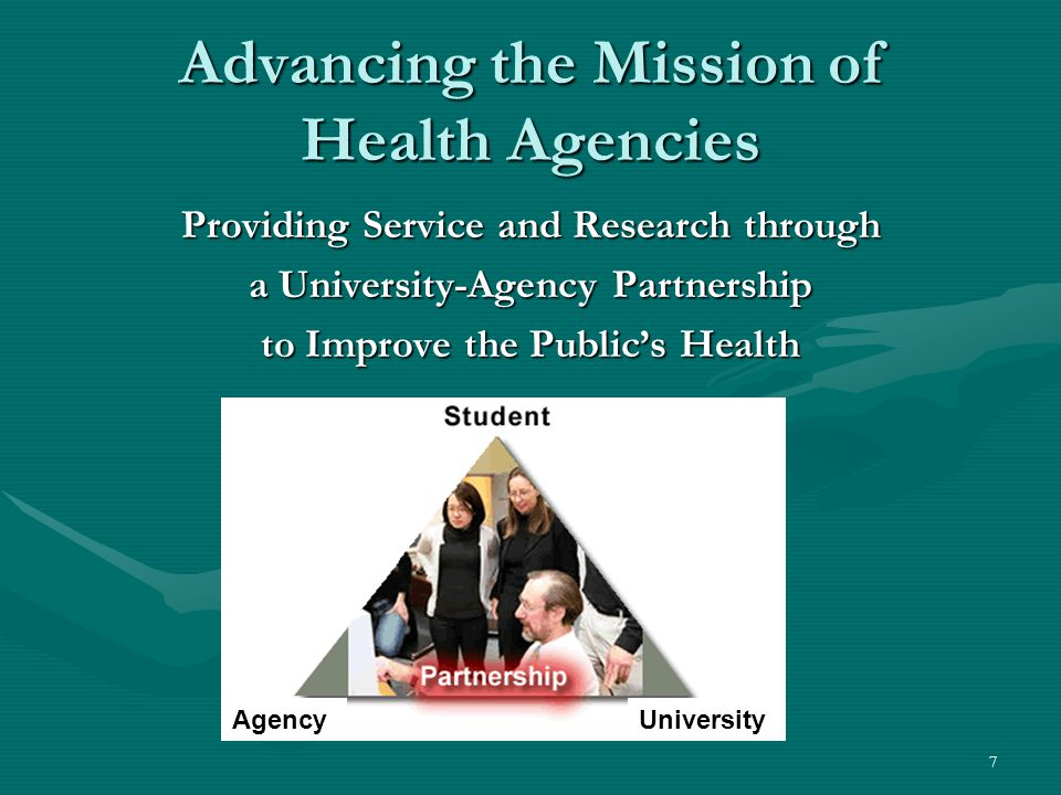 7 Advancing the Mission of Health Agencies Providing Service and Research through a University-Agency Partnership to Improve the Public's Health AgencyUniversity